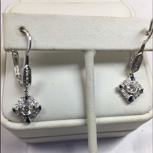 18K solid white gold diamonds earrings